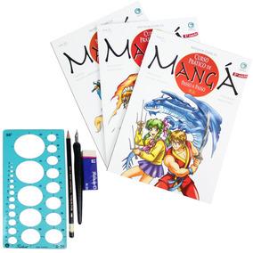 Livro Curso Desenho Mangá 3 Livros + Pena Arte Final E Lápis
