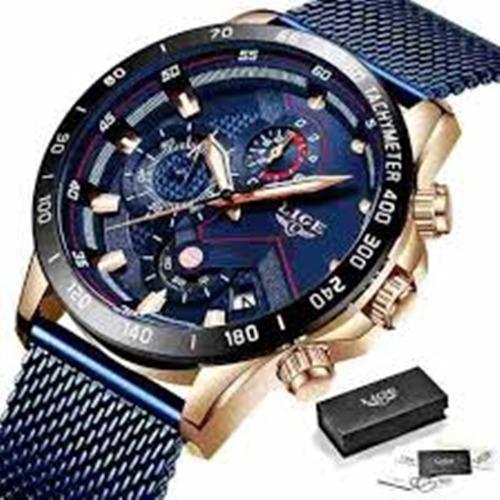 Relógio Masculino Lige 9929 Original Casual Pulseira Azul