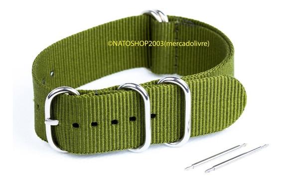 Pulseira Relógio Nato Zulu Nylon 22mm Verde Oliva 5 Anéis