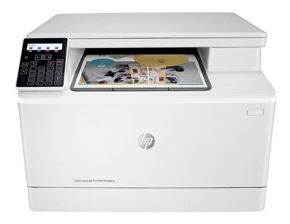 Impressora a cor multifuncional HP LaserJet Pro M180NW com Wi-Fi 110V branca