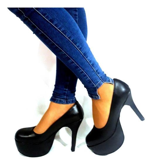 Sam123 Zapatos Stilettos Cuero Talles Grandes Tacon Negro