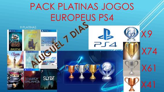 Platinas Ps4 Jogos Europeus-aluguel De 9 Jogos Por 7 Dias