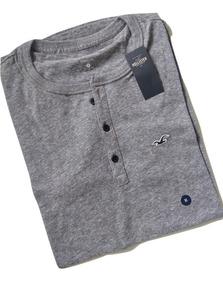 Camisa Camiseta Masculina Hollister Manga Curta Henley