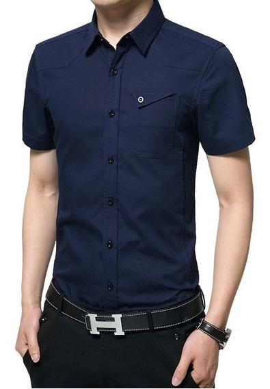 Camisa Slim Fit Hombre Azul Oscuro Manga Corta