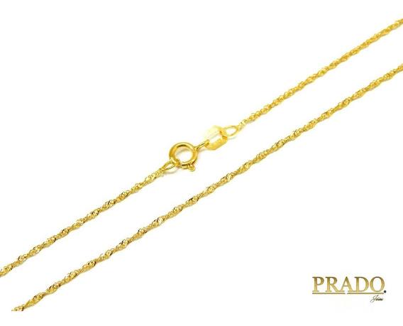 Corrente Cordão Colar Ouro 18k Singapura 50cm + Nota Fiscal