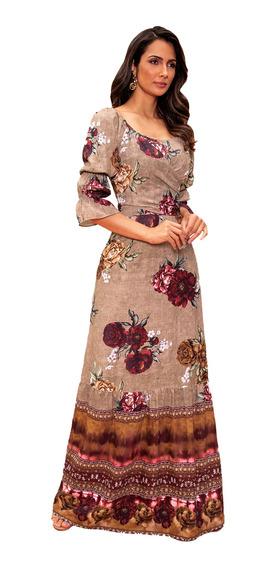 Vestido Longo Evangélica Crepe Fasciniu