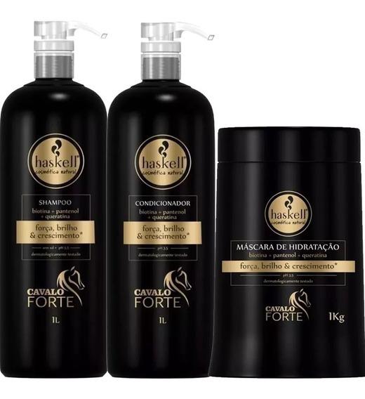 Kit Haskell Cavalo Forte Shampoo Condicionador Máscara 1l Kg
