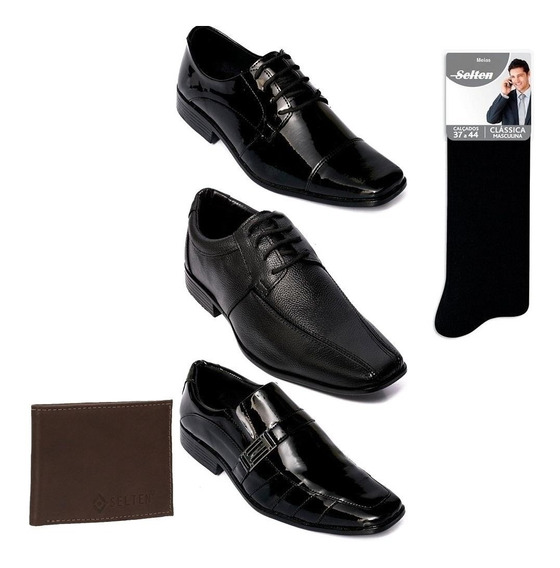 Sapato Social Masculino 3 Pares Com Carteira E Meia Promoção