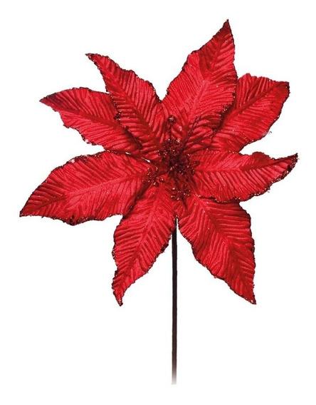 Flor Artificial Decoração Natal C/ Glitter Vermelha