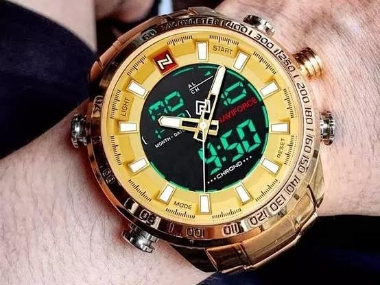 Relógio Masculino Naviforce 9093 Original Dourado Ou Preto