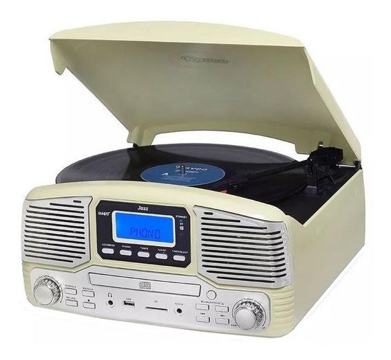 Vitrola Toca-discos Jazz Rádio Fm Cd Bluetooth Gravação 10w