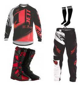 Kit Roupa + Bota Pro Tork Jett Factor Ed Motocross Trilha