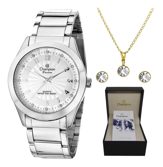 Kit Relógio Champion Feminino Prateado Cn29409q C/ N. Fiscal