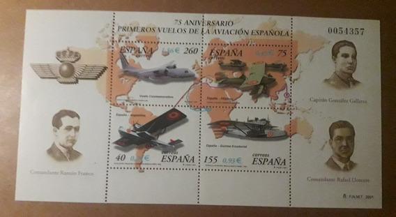 Hojita Con 4 Estampillas De España Aviación 2.001