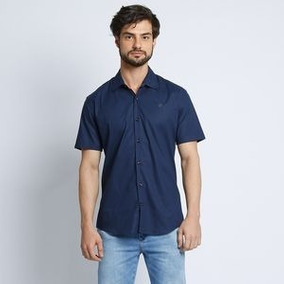 Camisa Forum Em Tricoline Com Bordado. - Azul Marinho - 3