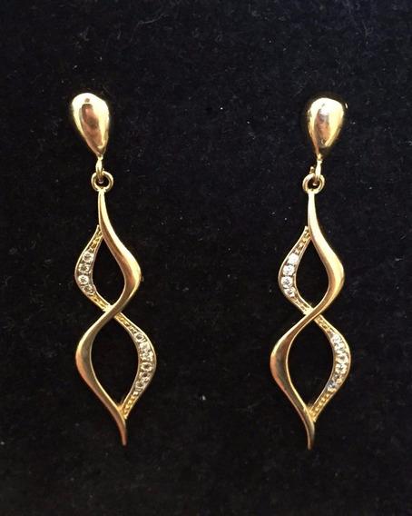 Brincos Feminino Banhado A Ouro Com Pedra De Zircônia