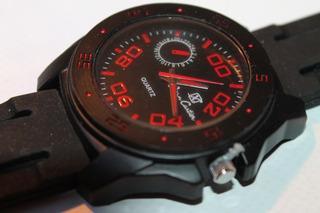 Reloj Jean Cartier Hombre Cuarzo Original Caja Negra, Caucho