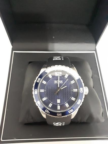 Relógio Hugo Boss Original Borracha Masculino Prateado Azul