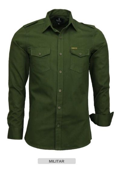 Camisa Masculina Brim 2 Bolsos Estilo Militar Amil