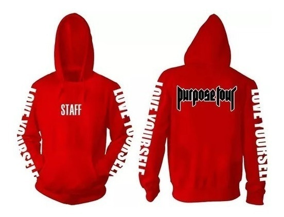 Sudadera Roja Justin Bieber Purpose Tour Red Hoddie