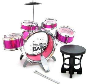 Bateria Musical Infantil Rosa 5 Tambores 1 Prato Promoção