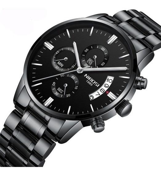 Relógio Nibosi Quartzo Aço Luxo Cronometro + Brinde