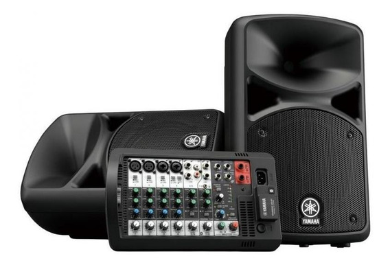 Kit Som Yamaha Estúdio Stagepas 400bt 2 Caixas 200w Mesa 8c