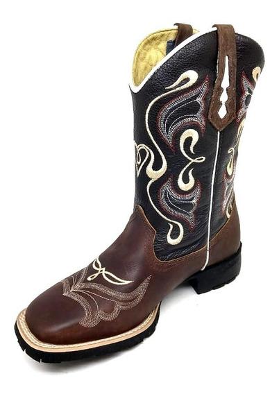 Bota Botina Feminina Country + Top R Texana Couro 7estrivos