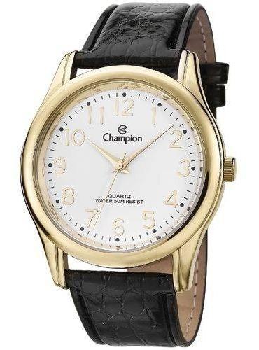 Relógio Masculino Dourado Pulseira Couro Champion Cn20015b