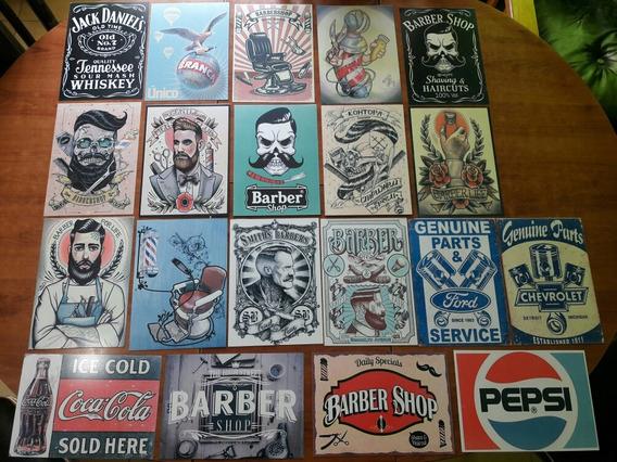12 Carteles Chapa Vintage Barbería Coca Tattoo Comic Cuadros