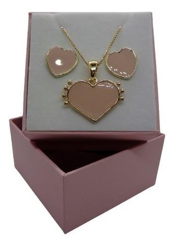 Imagem 1 de 5 de Conjunto Coração Rosa Banhado A Ouro 18 K Pinkcat