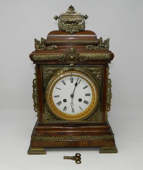 Antiguo Reloj Mesa Madera Y Bronce Funciona Francia