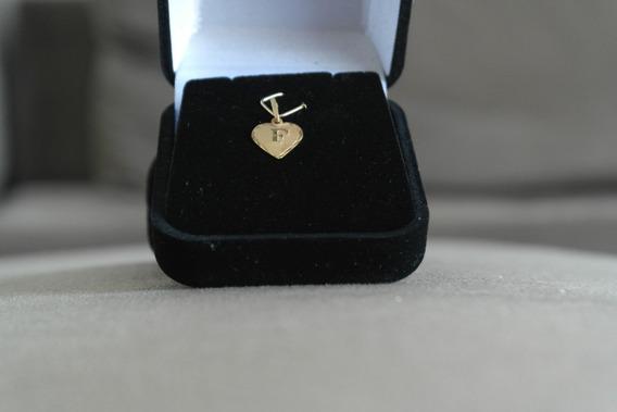 Pingente Ouro Letra F Em Coração