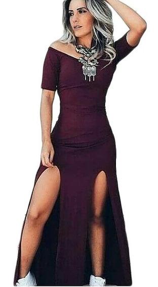 Vestido Feminino Fenda Dupla Manguinha Longo Tendência