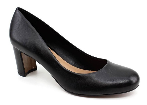 Sapato Scarpin Jse 003 Couro Legítimo Preto Loja Pixolé