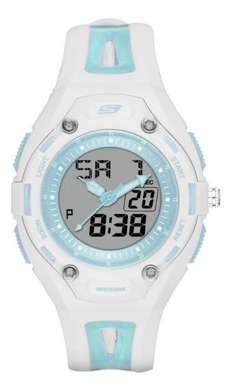 Reloj Dama Skechers Liberty Sr2052 Color Blanco Con Menta