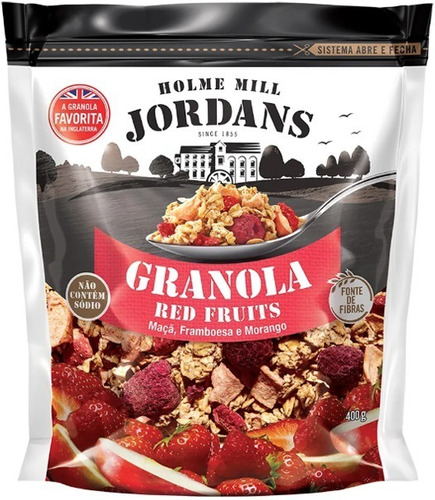 Imagem 1 de 5 de Granola Cereal Jordans Red Fruits Maça Framboesa Morang 400g