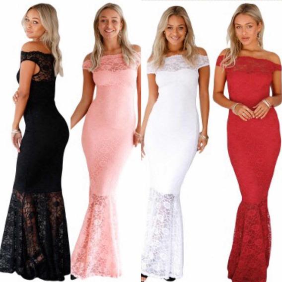 Vestido De Fiesta Rojo Rosa Blanco Negro Encaje Stretch Moda