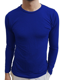 Camisa Gola Careca Segunda Pele Slim Elastano Manga Comprida