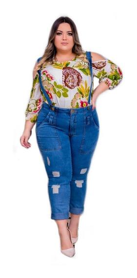 Macacão Longo Jeans Plus Size Com Elastano Moda Gg - Ref. 22