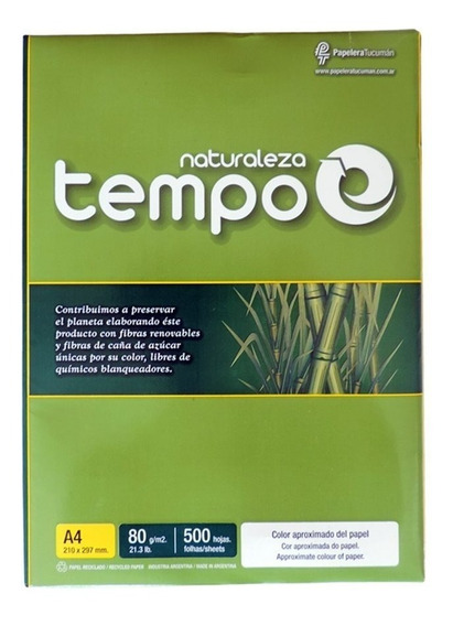 Resma Tempo Naturaleza Ecologica A4 80 Grs X500 Hj
