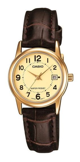 Relógio Casio Feminino Pequeno Dourado Pulseira Couro Data