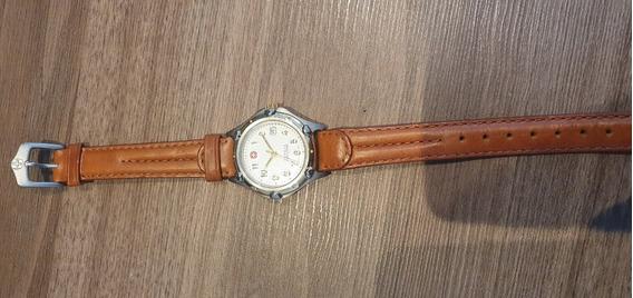 Relógio Suíço Wenger Pulseira Couro Mostrado Branco Feminino