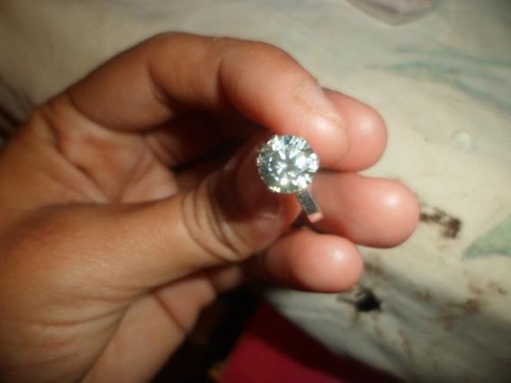 Anel De Prata Com Diamante Moissanite Branco 1.88 Cts Si-1