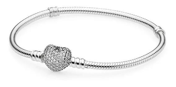 Bracelete Coração Cravejado Prata 925 Est Pandora