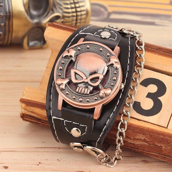 Relógio Pulso Unissex Caveira Motoqueiro Caixa Dourada
