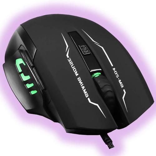 Imagen 1 de 3 de Mouse Gamer Optico Iluminado 6 Botones 3200 Dpi Led Pc Usb