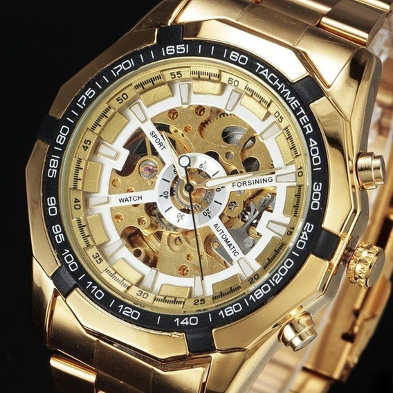 Relógio Forsining Mecânico Automático Dourado Esportivo