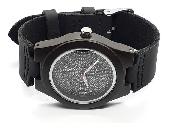 Relógio Feminino Pulseira Em Couro E Caixa Em Madeira (original)