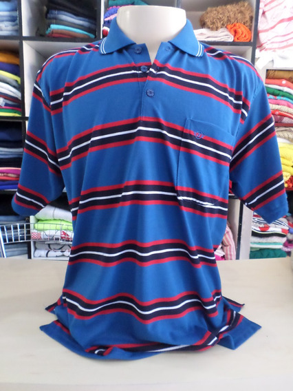 Camiseta Masculina Gola Polo Jiaxinna Listrada Azul Vermelho